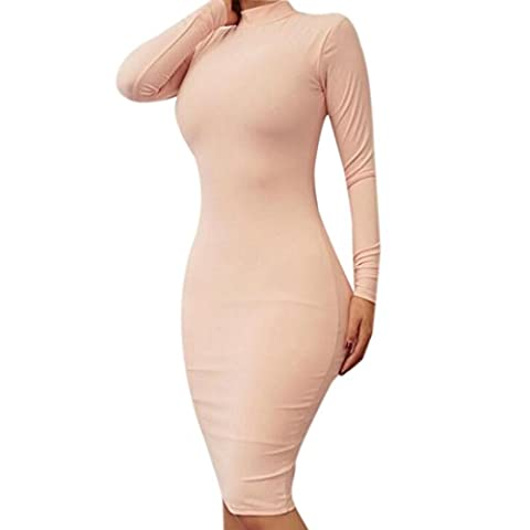 QIYUN.Z Coton Cou Long Stand Manches Mi-Mollet Gaine Sexy Robe Bandage Moulante (XL, Rose clair)