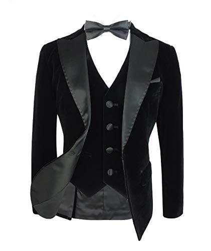 Designer Romano Jungen Samt Hochzeit Anzüge Schwarz 3 Teilig (Für Samt-blazer Jungen)