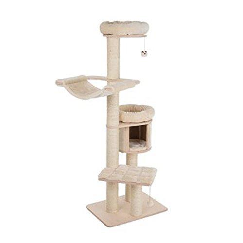 Arbre à chat XL couleur crème naturelle avec plate-formes compactes, niche douillette, coussins lavables pour grimper, jouer et dormir