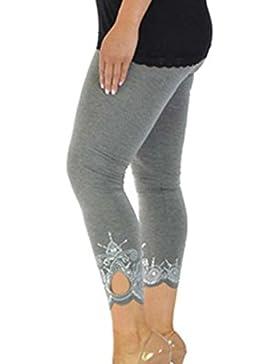 DouYuLike Mujer Nueve Puntos Pantalón Apretado Pantalones Casual Impresión Costura Leggings Trousers