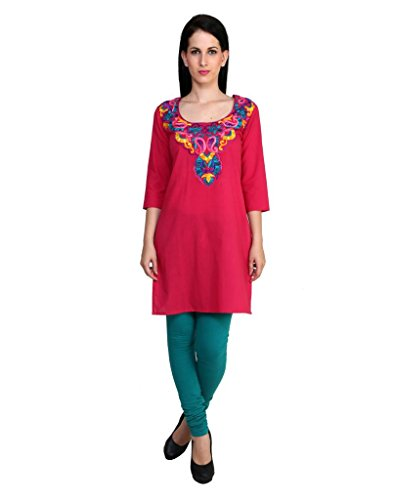 Anekaant Women Cotton Solid 3/4th Sleeve Kurti (ADD423AS_Pink_Small)