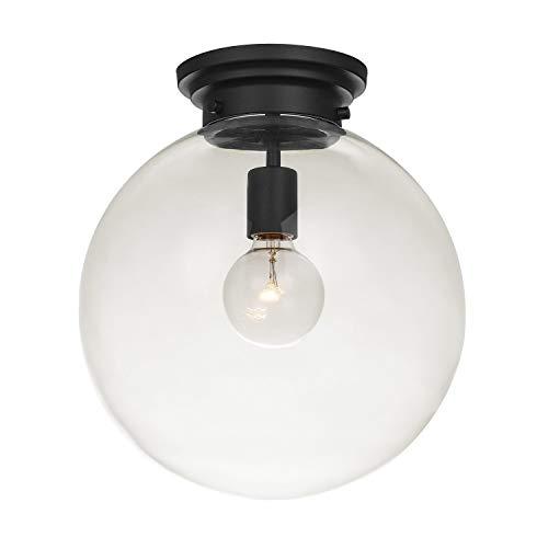 Industrie Mini Glas Kugel Deckenlampe, Unterputz Deckenleuchte, Schwarz Kugelleuchte mit klarem Glaslampenschirm - Rustikale Deckenbeleuchtung, E27 Fassung Zimmerleuchte für Küche Korridor Wohnzimmer