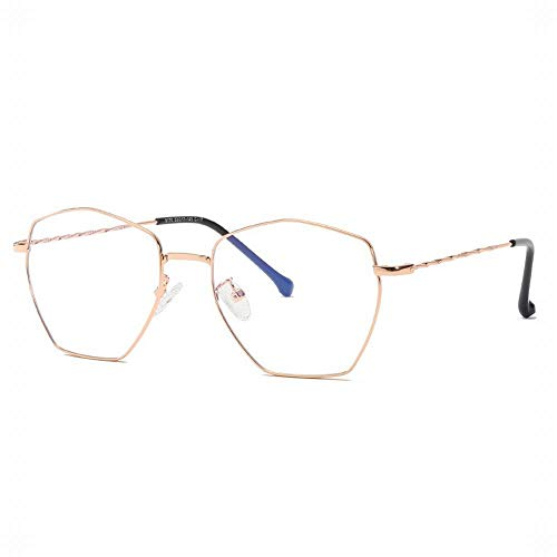 UICICI Polygonal Metall Brillengestell Unisex Stylish Clear Lens Eyewear (Farbe : Rose Gold)