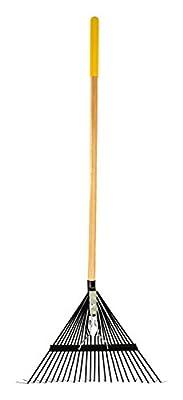 True Temper ttw-slr 24Zahn flach Zinken Stahl Laubbesen mit langem Holz Griff–Gelb