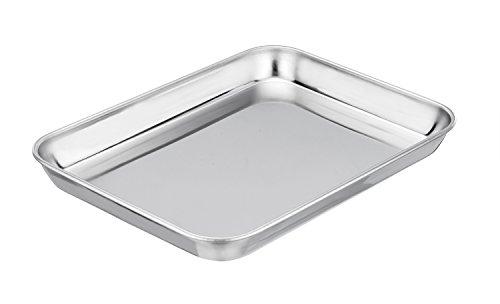 Reinigung Von Edelstahl Rostfrei Kochen Roste (TeamFar - Kleines Backblech, 20,3 x 26,7 x 2,5 cm, schwer und gesund, leicht zu reinigen, Spülmaschinenfest)