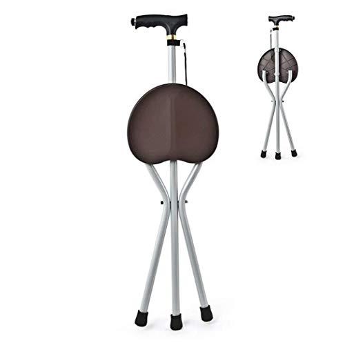 Behinderte Medizinische Hilfsklappstuhl Krücken Klappbarer Gehstuhl Spazierstock Hocker Stativ Spazierstock Outdoor Wicker Chair Walker Sicherheit Action Aid (Color : Brown) -