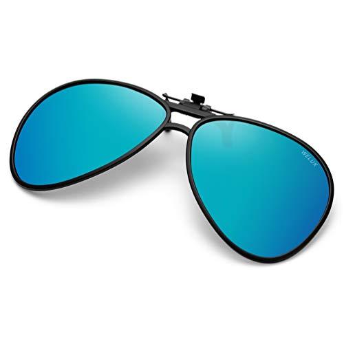 de5deed9b01a WELUK Polarized Clip-on Flip up Sunglasses Aviator Style for Prescription  Glasses (blue)