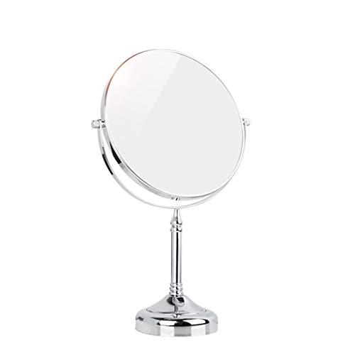HZH Doppelseitige Spiegel Kupfer Desktop Kosmetikspiegel Europäischen 6/8 Zoll Badezimmer Büro HD Dressing Spiegel (Size : Diameter 20CM)