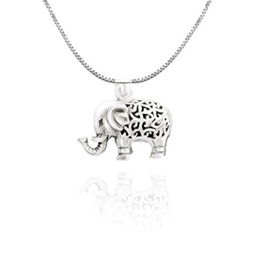 URBAN SHe° - Collar de elefante de la suerte en 3D, plata esterlina, Joya espiritual colgante