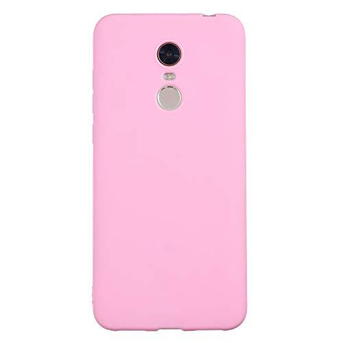 cuzz Funda para Xiaomi Redmi 5 Plus+{Protector de Pantalla de Vidrio Templado} Carcasa Silicona Suave Gel Rasguño y Resistente Teléfono Móvil Cover-Rosa Oscuro