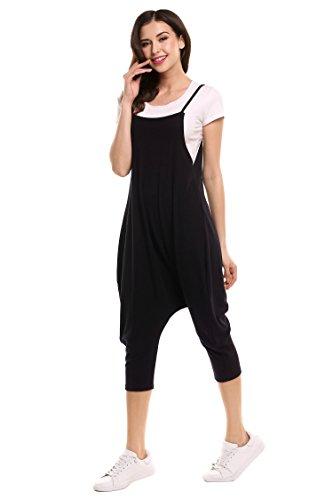 Teamyy Femme Spaghetti Strap Dos Nu Couleur Unie Casual Confortab Jumpsuit Noir