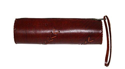 """'Vintage estuche """"Karl de kastanienbraunen Noble Piel de cabra con puntadas 20x 5x 5cm"""