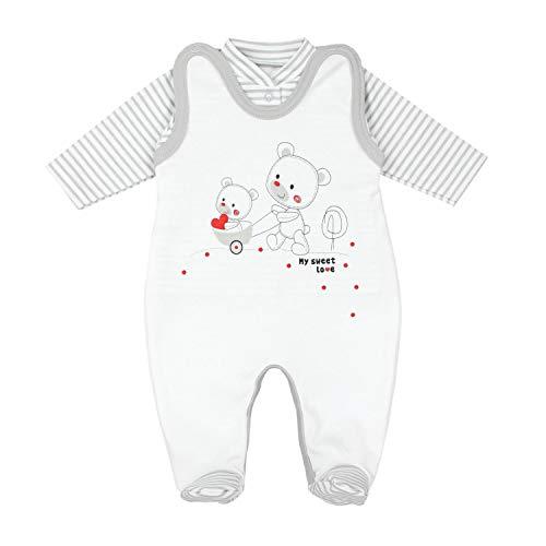 TupTam Baby Unisex Strampler-Set mit Aufdruck Spruch 2-TLG, Farbe: Streifenmuster Grau/Bärchen Herz, Größe: 74