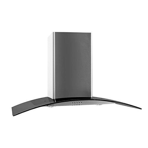Klarstein GL90WSB campana extractora de pared (capacidad de extracción de 350m³/h, 90 cm, diseño cristal, acero inoxidable, iluminación opcional, apta para montaje en pared) - gris