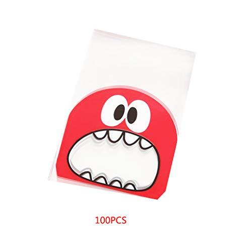 Jinzuke 100 PC-Karikatur-Monster Plätzchen-Süßigkeit Paket Geschenk-Beutel selbstklebend Kunststoff Fit-Plätzchen-Party