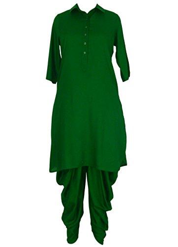 Straight Kurta And Dhoti Pant/Salwar Set For Women - Bottle Green Classic Collar Kurti And Dhoti Set Ethnic Suit...