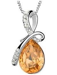 Boolavard Fashion Eternal Love Angel Collier avec pendentif goutte d'eau cristal + Boîte Cadeau