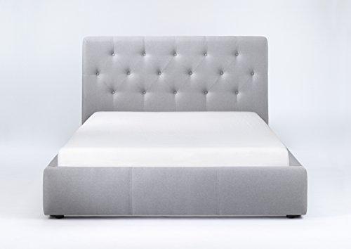 CAVADORE Bett CLARISSA 160x200 / mit Funktion / Webstoff / Hellgrau / B 188, H 103, T 225 cm