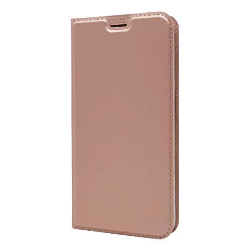 DENDICO LG V30 Hülle, Ultra Dünn Premium Leder Schutzhülle mit Magnetverschluss, Flip Brieftasche Slim Bumper Handy Hülle für Galaxy A3 2030 - Roségold