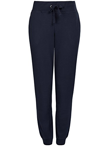oodji Ultra Damen Jersey-Hose im Sport-Stil, Blau, DE 42 / EU 44 / XL