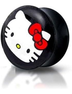 Piercing Boutique Ohrpiercing Tunnel Push fit Memorystick Hello Kitty Einteiler Expander Plug 4 mm