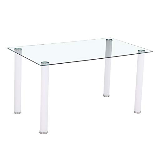 HomeSouth - Mesa de Comedor Blanca, Mesa de Cristal para Cocina, Medidas Mesa Moderna salón: 140x80 cm Ancho