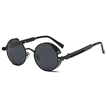 hibote Gothic Steampunk Coating Mirrored Round Circle Polarized Sunglasses Unisex C3