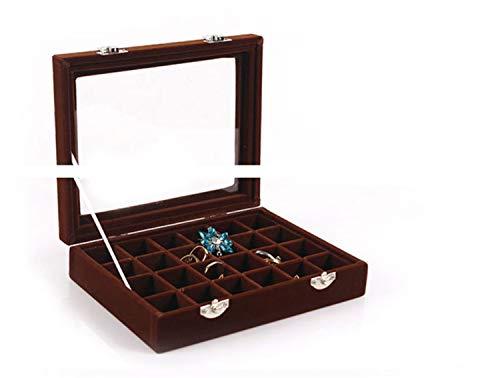 44181c46f235 UNIQUE-F Pequeño 24 Velvet Jewel Box Cristal Ventana Pendientes Anillo  Collar Almacenaje Joyería de