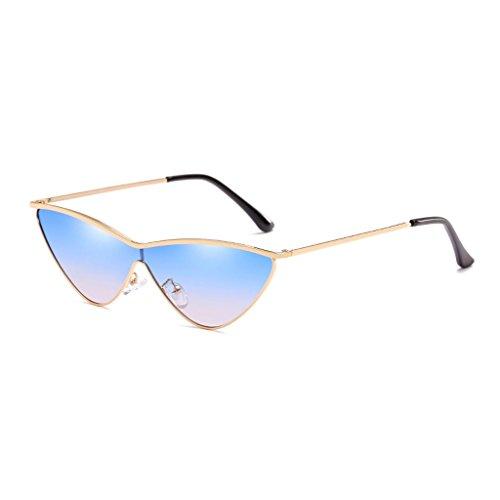LX-LSX Sonnenbrille-Außendekoration, Die Das Einkaufen Anti-UV Blendschutz-Bequeme Metallkatzen-Augen-Damen-Gläser Fährt (Farbe : Gold Frame Gradient Blue Lens)