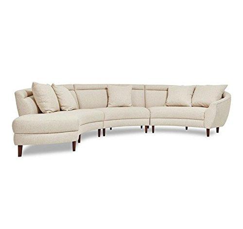 Afydecor Three Seater L-Shaped Sofa (Off-White)