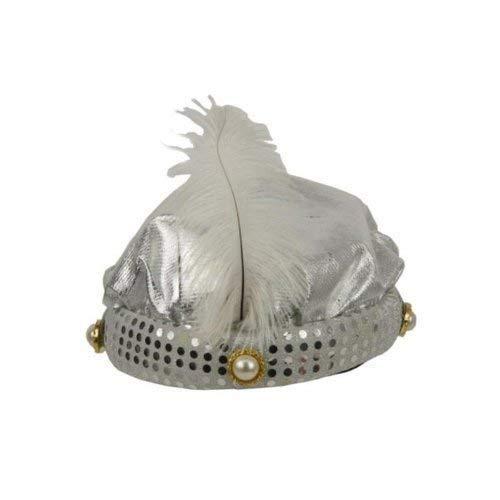 Kostüm Sultan Baba Ali - Turban für den Sultan in silber mit Feder