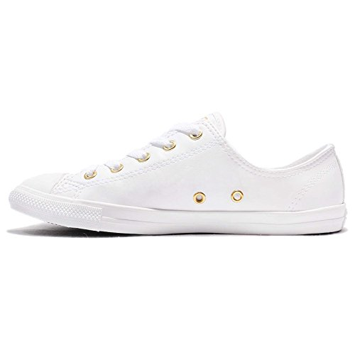 Converse Womens CT All Star Dainty Low Top Synthetic Trainers white/gold/white