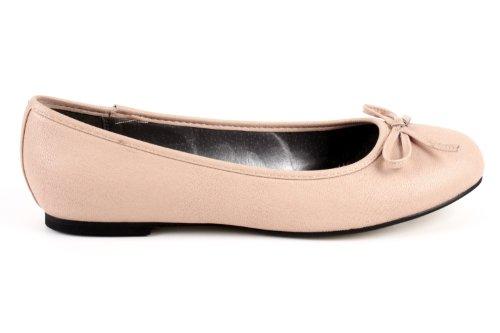 Andres Machado.TG104.Ballerines Classiques.Pour Femmes.Grandes Pointures du 42 au 46. Soft Beige