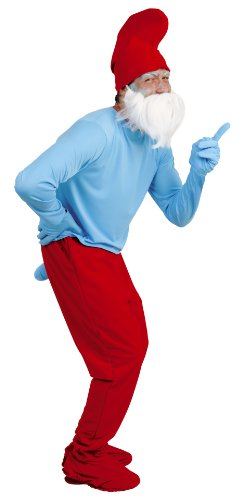 joker B778-004 I Puffi Costume di Carnevale, Grande Puffo Adulto, in Busta, Azzurro e Rosso