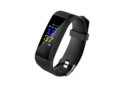 Roneberg Fitness Tracker, Blood Pressure,Heart Rate, Pulsometer, Smart Lab,Sleep Monitor, Pedometer, Smart Wrist Band Call And Message Vibration, Android, iOS, for Women, Men, Kids, R115 … (Nero)