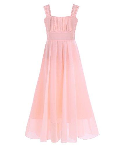 Freebily Mädchen Kleid festlich Chiffon Prinzessin Hochzeit Freizeitkleid Party Kleid Sommerkleid 104 116 128 140 152 164 Aprikose 164 (Kinder Sommerkleid)