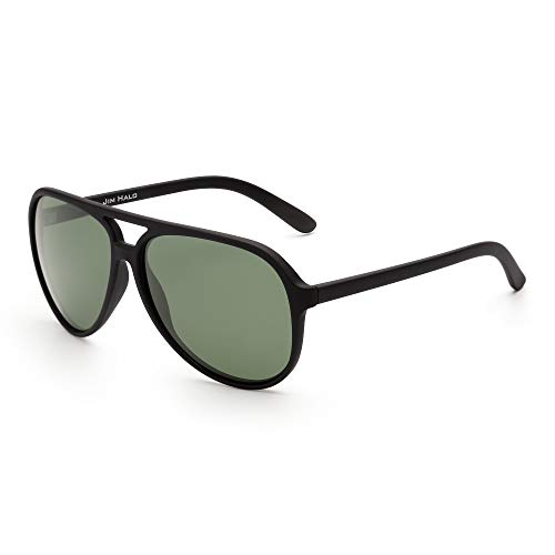Jim halo occhiali da sole aviatore polarizzati uomo donna occhiali da guida oversize in plastica (cornice nera opaca/lente verde polarizzata)