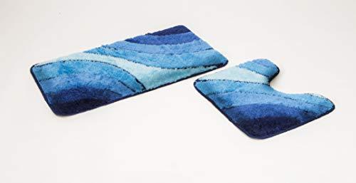 2- teiliges Badematten Set Wave blau mit Ausschnitt