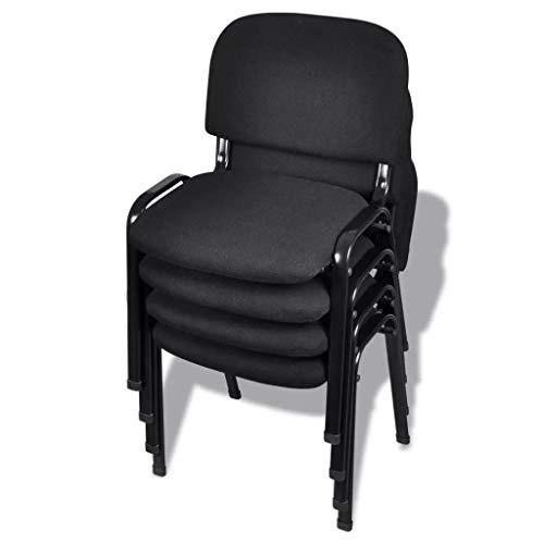 yorten 4 Stücke Stapelbare Bürostühle Stapelstuhl Konferenzstuhl Besucherstuhl Metallrahmen 54 x 59 x 78 cm (B x T x H) Schwarz