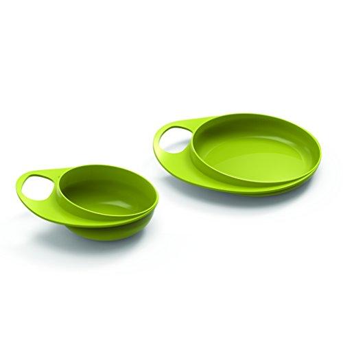 Nuvita 8461 Easy Eating - Teller Schüssel Set - BPA und Phthalate frei - Baby Kinder Geschirr Set -Tischset Schale Schüssel Anti-Rutsch - Babyteller- Esslernset- Italienisches Design (Grün) Rand Teller