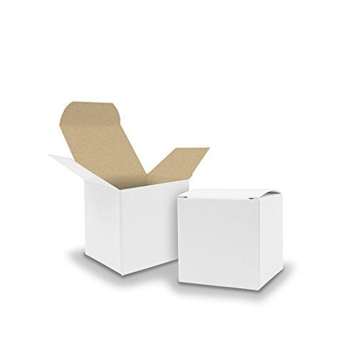 Itenga–25 scatoline di cartone bianco all'esterno e marrone all'interno 5 x 5 cm perfette come bomboniere per matrimoni calendari dell'avvento, battesimi, compleanni,regali o comunione.