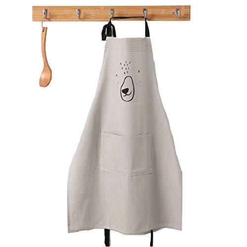 Lindong Süß Kartoon Schürze mit Tasche für Frauen Kinder Wasserdicht Baumwolle Leinen Küchenschürze Latzschürze Kochschürze Erwachsene Grau