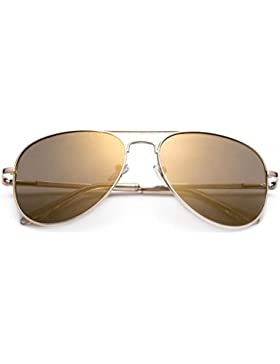 Pequeño Mini polarizadas para adulto Aviator Gafas de sol con marcos de oro y marrón lentes Offering Full UV400...