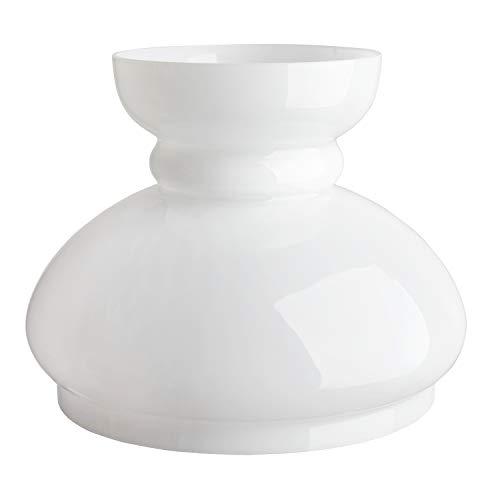Glas Ersatz Öllampe Schornstein Haube Lampenschirm.  GROß WEIßE GLAS SCHORNSTEIN. Breite an der Basis: 19 cm Durchmesser, Höhe: 17.5 cm, Maximaler Durchmesser: 22 cm. - Basis-schornstein