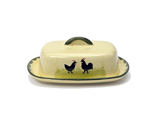 Zeller Keramik Hahn und Henne Butterdose mit Knauf 250g Henne Und Hahn