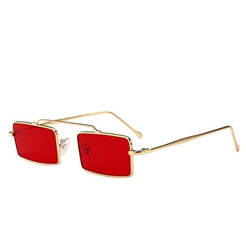 MJDABAOFA Sonnenbrillen,Retro Kleine Rechteckige Sonnenbrille Gold Frame Rote Linse Frauen Vintage Designer Inspiriert Sonnenbrillen Damen Für Schutzbrillen Quadrat Schattierungen Brillen
