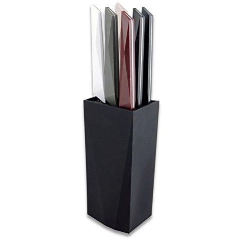LE COUTEAU DU CHEF 10070006 Bloc Noir +6 Steaks FURTIF Couleurs Assorties, Plastique, Panache, 9,5 x 9,5 x 27 cm