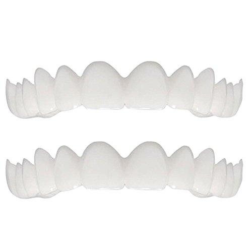 2 Stücke Kosmetische Zähne Obere Temporäre Lächeln Zähne Veneers Zahnmedizin Ersatz Komfort Fit alle Top Kosmetische Instant Prothesen Gefälschte Zähne Buchse Perfekte Hosenträger für Schöne Zähne