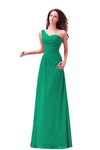 Bridal_Mall Damen Ein-Schulter Abendkleider Lang Chiffon Einfach Prom Ballkleid Grün