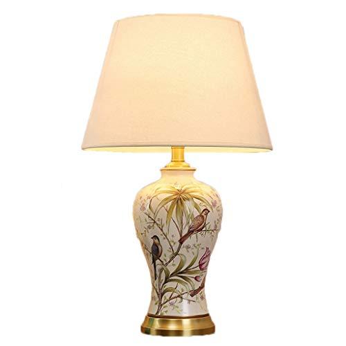 Erleuchtung Tischlampe Schlafzimmer Nachttischlampe Moderne Minimalistische Kreative Warme Romantische Hause Dimmbare Wohnzimmer Keramik Lampe Tischlampe ( Color : B , Größe : Push button switch ) - Push-button-satin